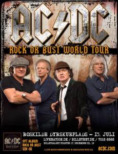 Cartaz do show da turnê Rock Or Bust na Dinamarca