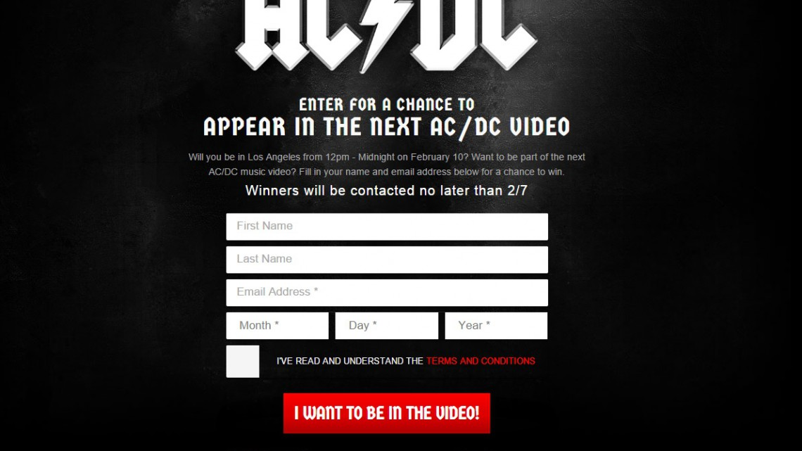Tela de inscrição para a gravação do próximo clipe do AC/DC.