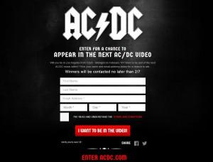 Tela do site de inscrição para o próximo clipe do AC/DC.