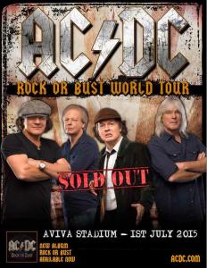Cartaz do show da turnê Rock Or Bust em no Aviva Stadium em Dublin, Irlanda