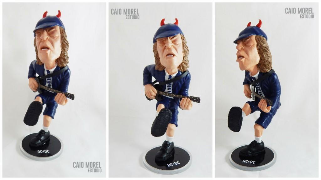 Escultura Angus Young. Por Caio Morel.