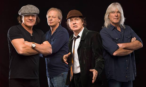 "Foto promocional do álbum ""Rock or Bust"". 2014."