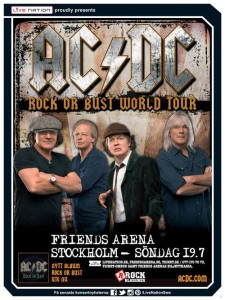 Cartaz do show da turnê Rock or Bust no FRIENDS ARENA – SOLNA, SUÉCIA