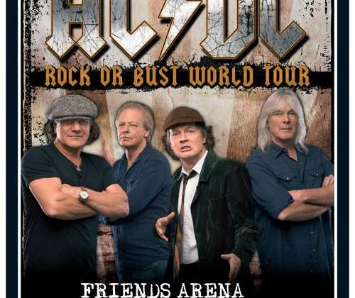Cartaz do show da turnê Rock or Bust no FRIENDS ARENA – SOLNA, SUÉCIA