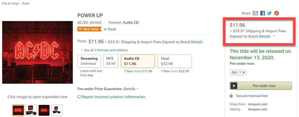 Custo do CD Power Up do AC/DC na Amazon.com