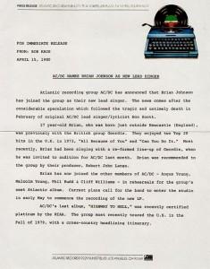 Comunicado da Atlantic Records. AC/DC. Brian Johnson. abril de 1980.