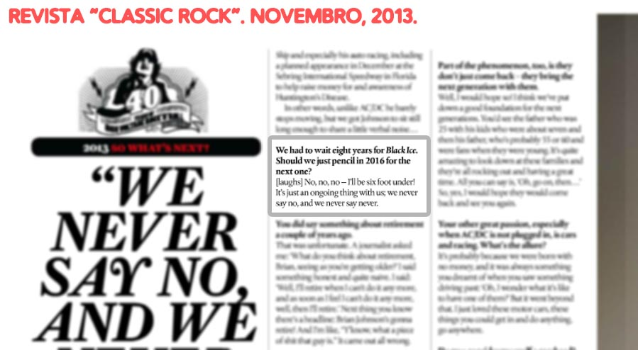 """Trecho da entrevista de Brian Johnson para a revista """"Classic Rock"""""""