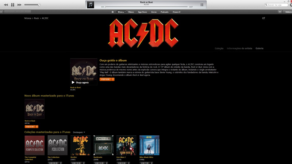 "Escute ""Rock or Bust"" gratuitamente no iTunes."