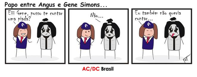 Tirinha AC/DC - Angus e Gene (Kiss)