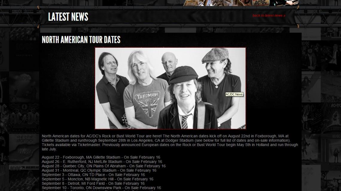AC/DC. Turnê Rock or Bust. América do Norte.